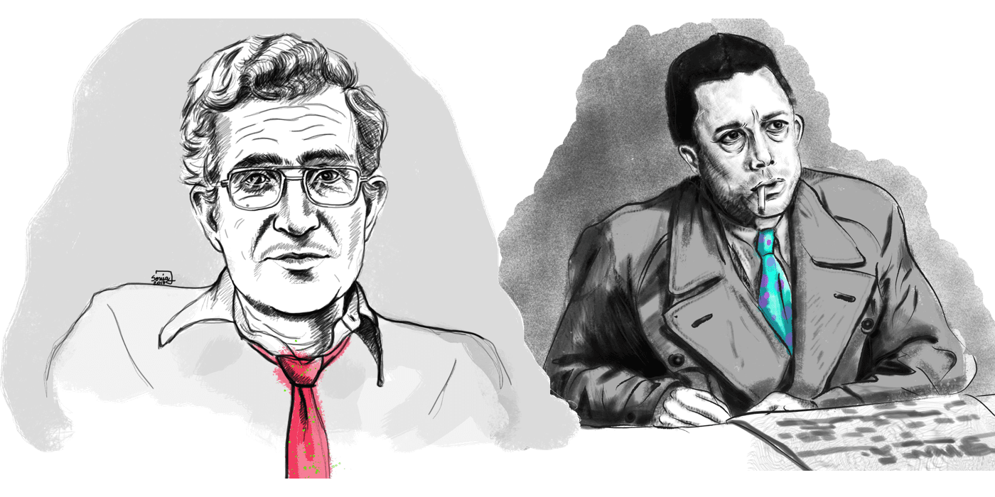 Camus and Chomsky wearing funny ties