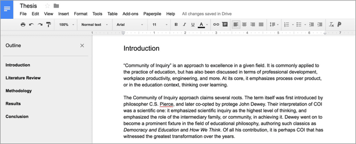 Writing your thesis in Google Docs allows you to use the Outline feature