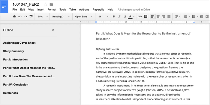 Writing a research paper in Google Docs