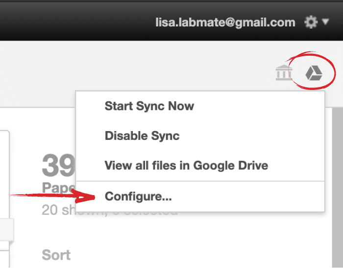 How to configure Paperpile's Google Drive sync