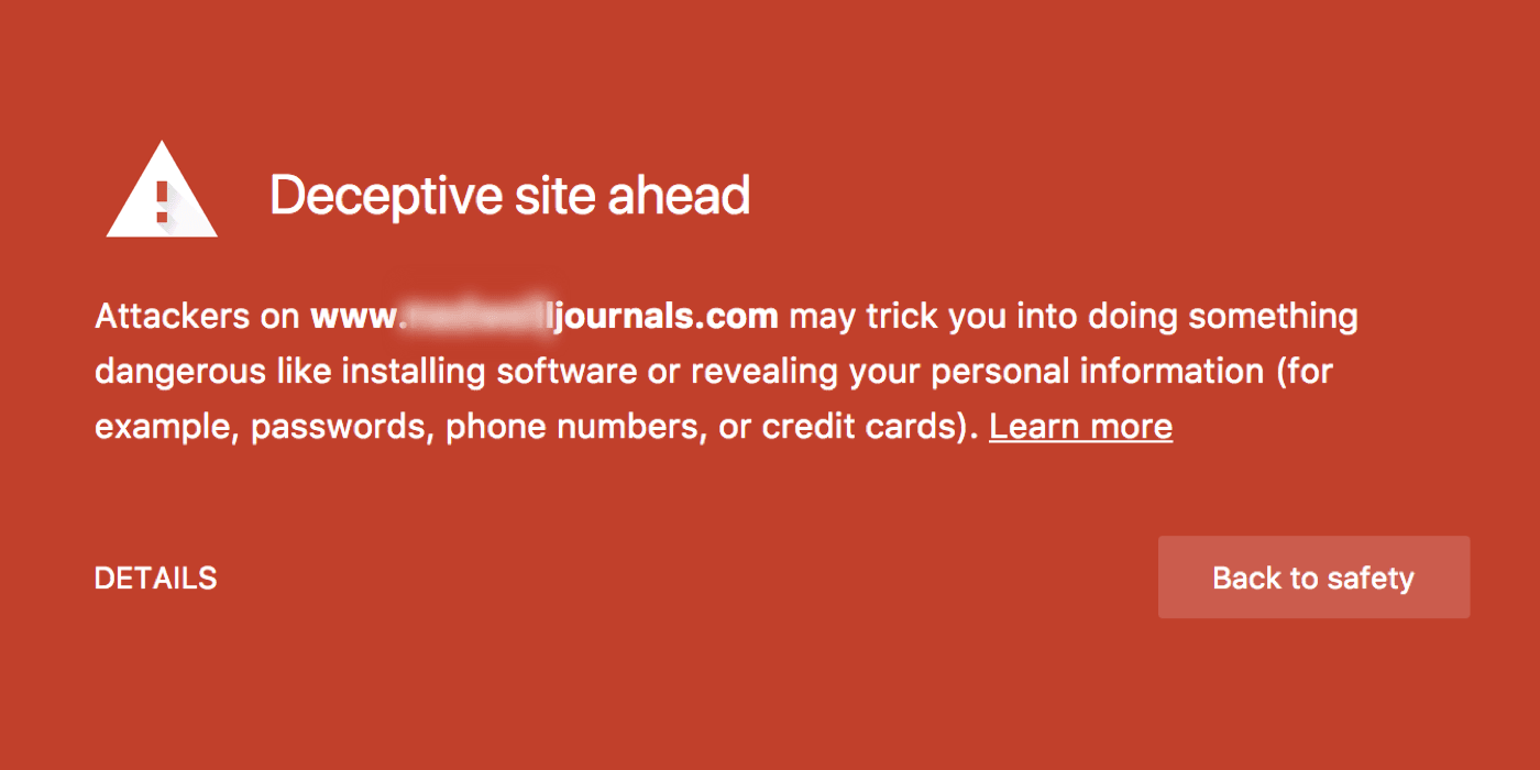Google Chrome warns users of a predatory journal