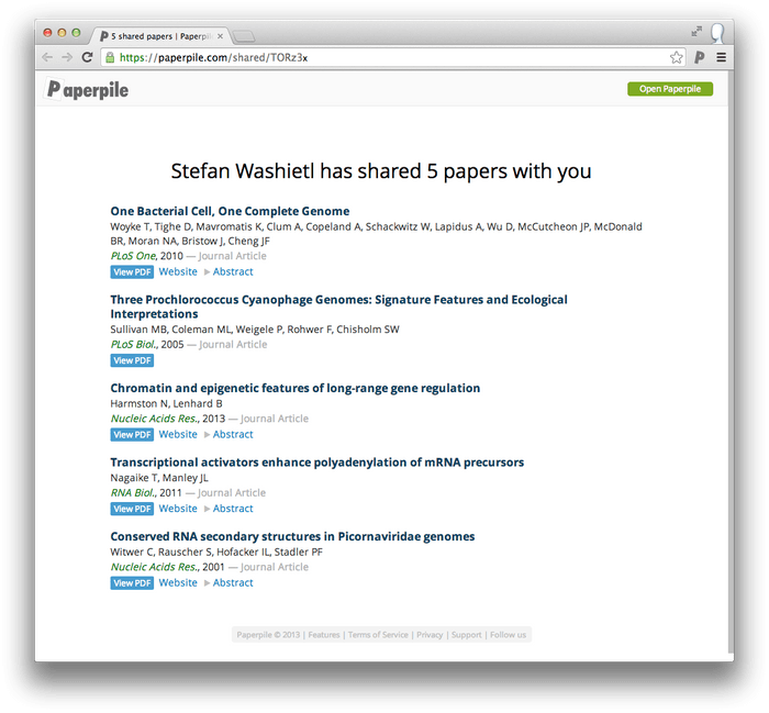Webview of shared files.