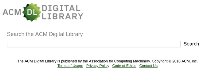 Search interface of the ACM Digital Library
