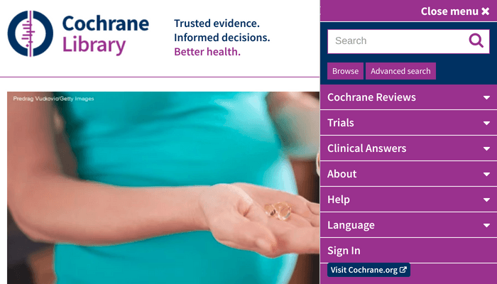 Search interface of the Cochrane Library