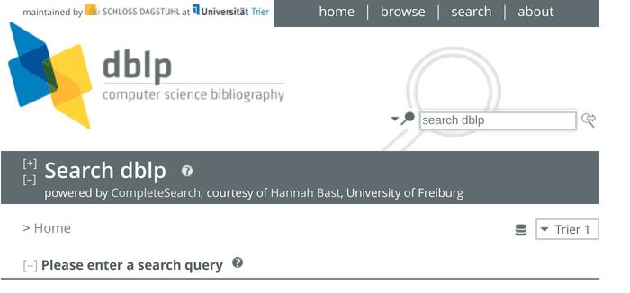 Search interface of dbpl