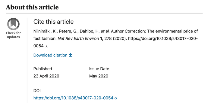 DOI in an article from Nature