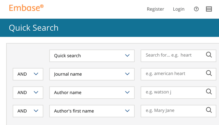 Search interface of Embase