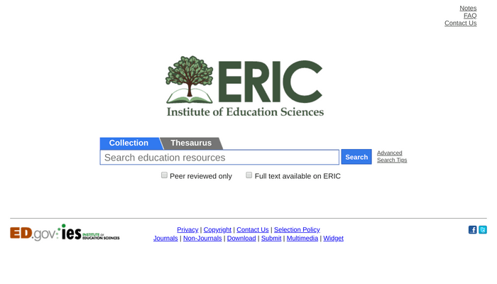 Search interface of ERIC academic database