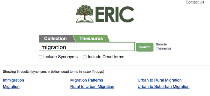 ERIC database: thesaurus search