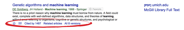Google Scholar: more action links
