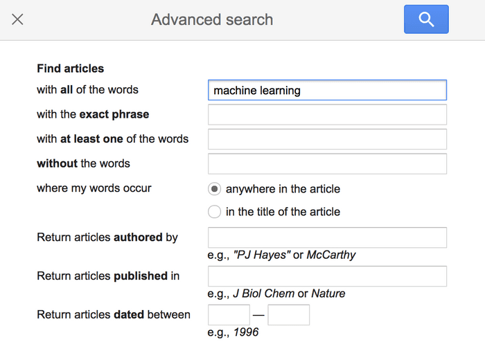 Google Scholar advanced search