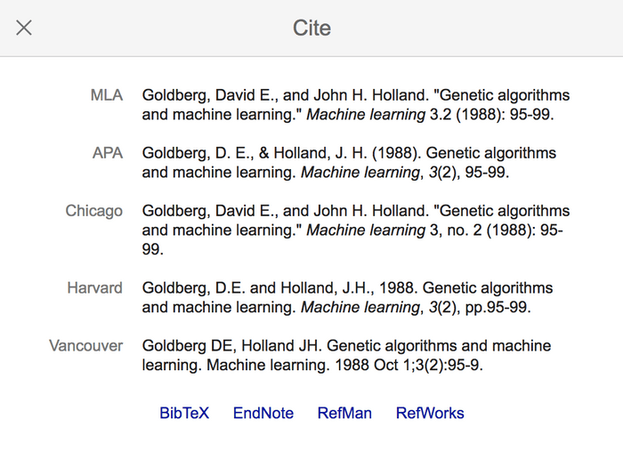 Google Scholar citation panel