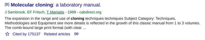 Google Scholar search result for a book