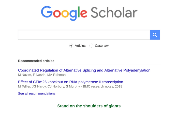 Google Scholar home page