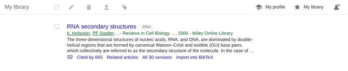 Google Scholar  my library entry with label