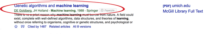 Google Scholar single search result entry