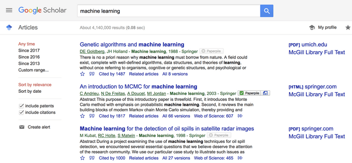 Google Scholar search results page