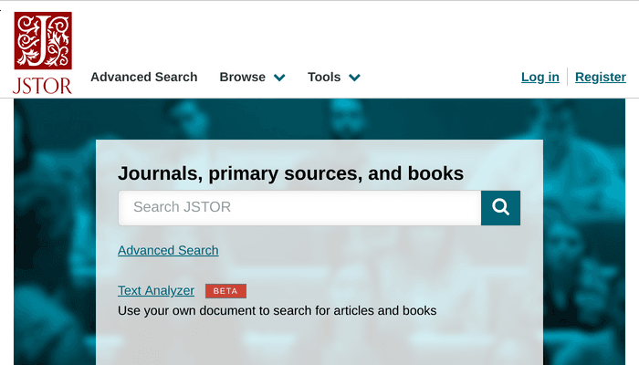 Search interface of JSTOR