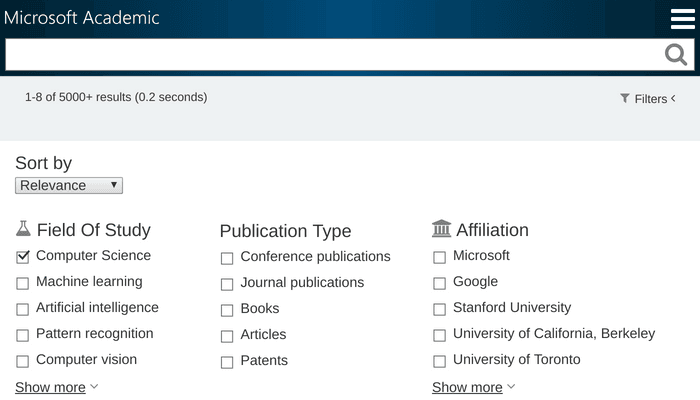 Search interface of Microsoft Academic with Field of Study filter