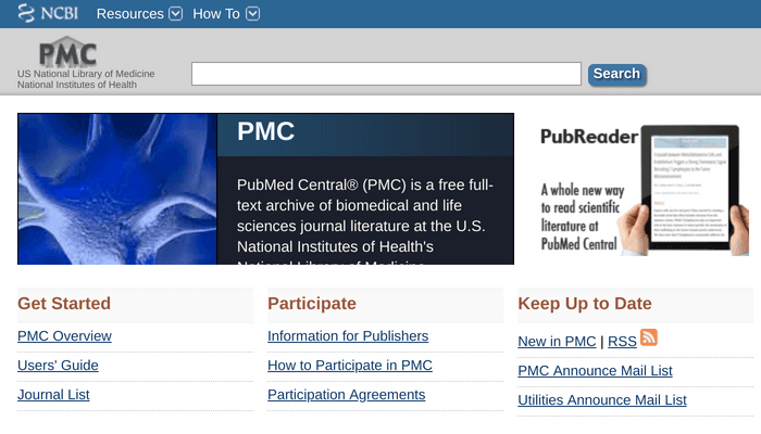 Search interface of PMC