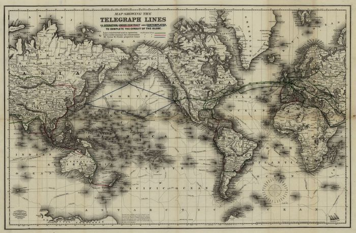 Map of telegraph lines 1855