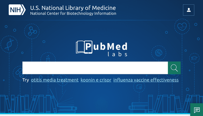 Search interface of PubMed