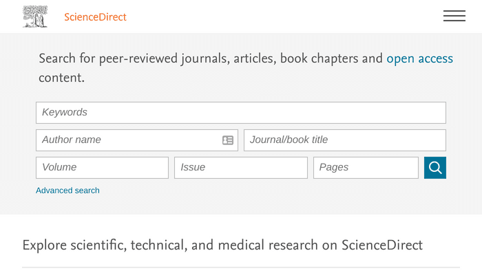 Search interface of ScienceDirect
