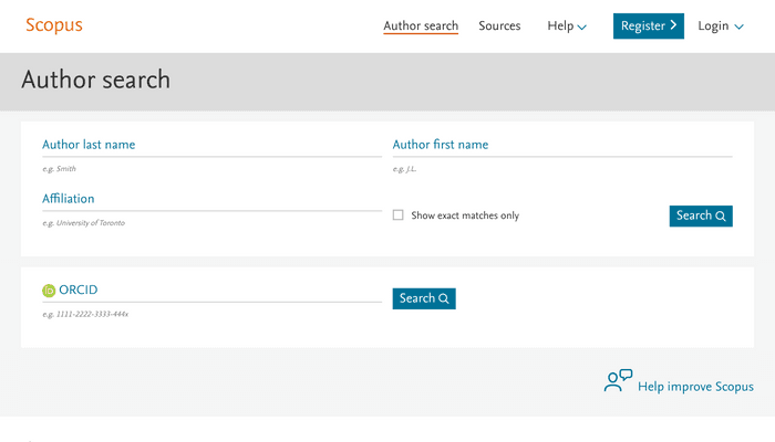Search interface of Scopus