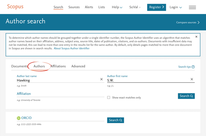 The Scopus author search interface