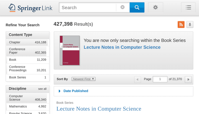 Search interface of Springer Lecture Notes in Computer Science