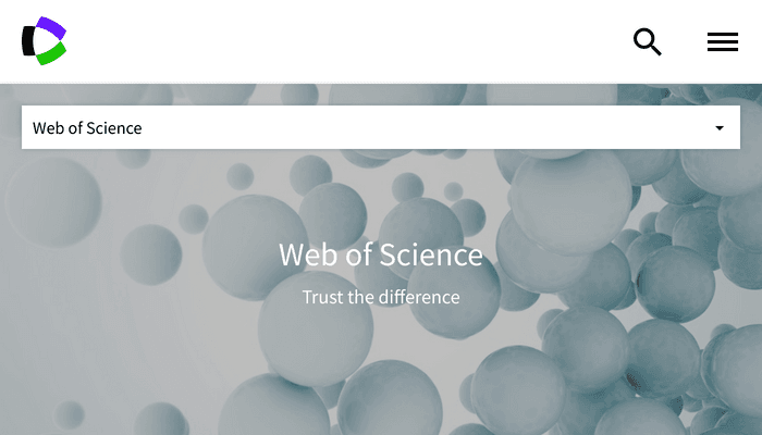 Web of Science landing page