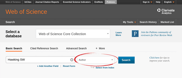 The Web of Science author search interface