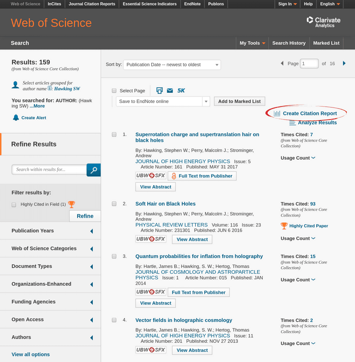 Web of Science search results page