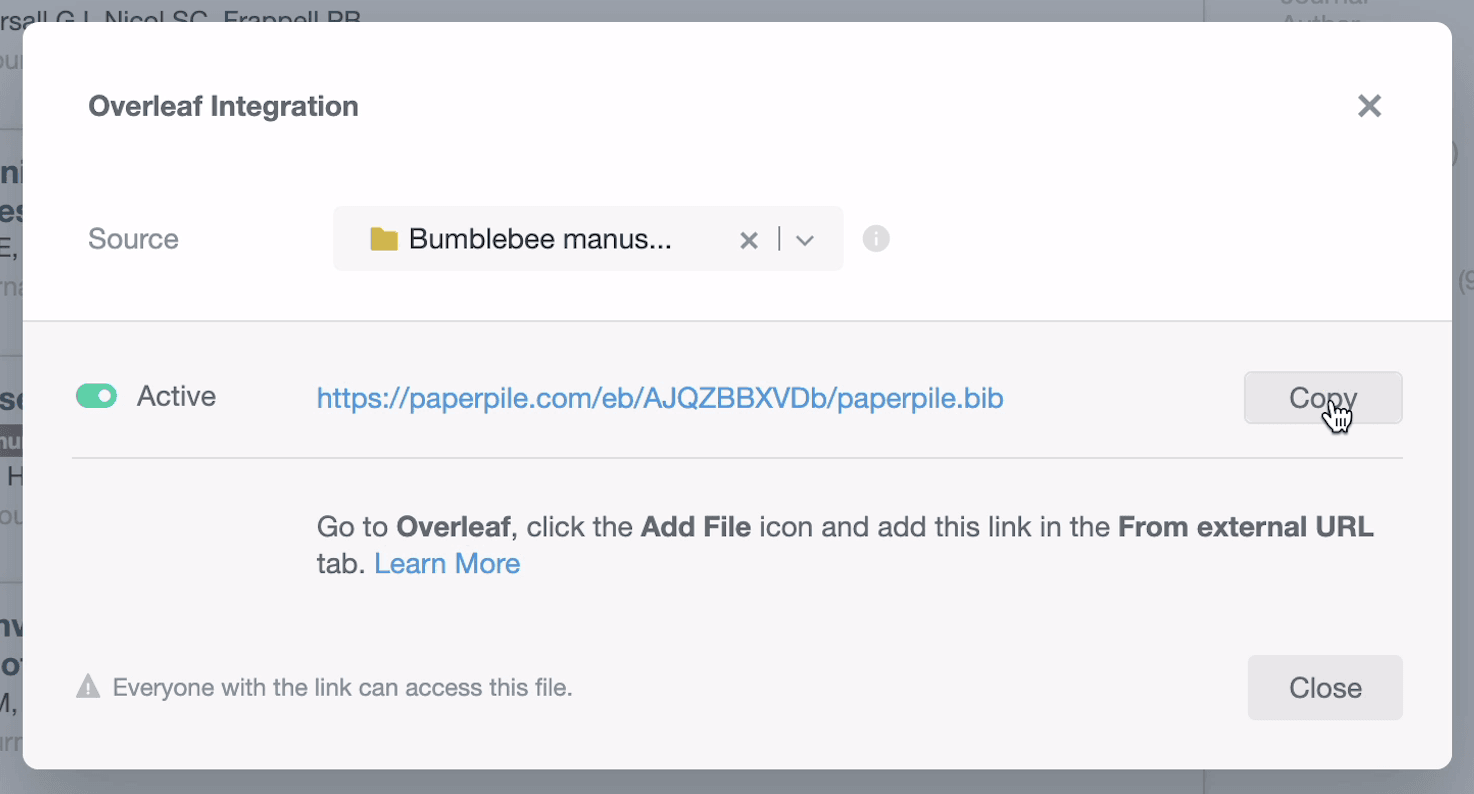 How to use Paperpile with Overleaf: screenshot