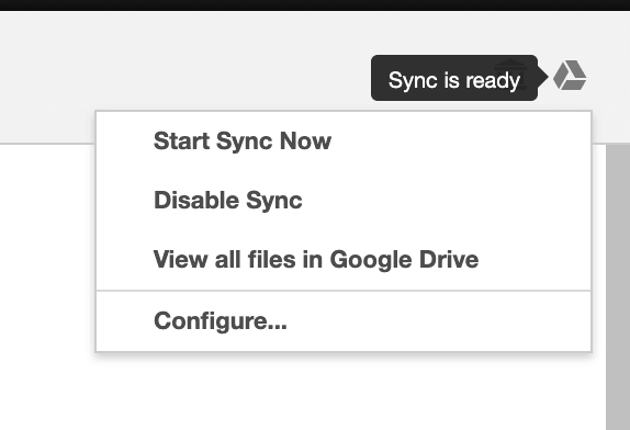 Sync your files with Google Drive: screenshot