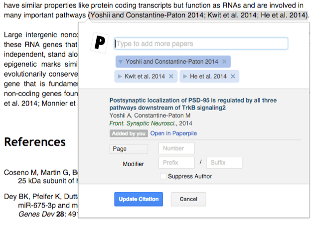 Insert citations into Google Doc