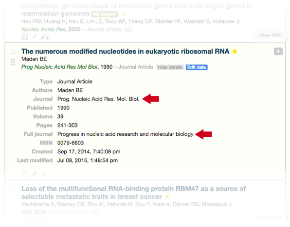 Normalize journal names