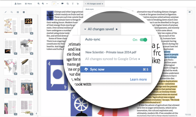 Sync PDF annotations to Google Drive