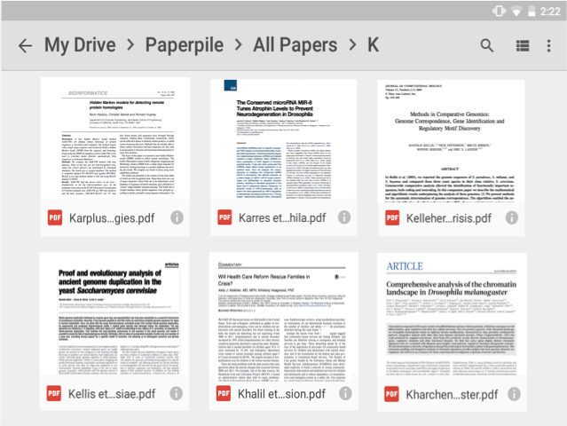 Research papers synced to Google Drive on Android