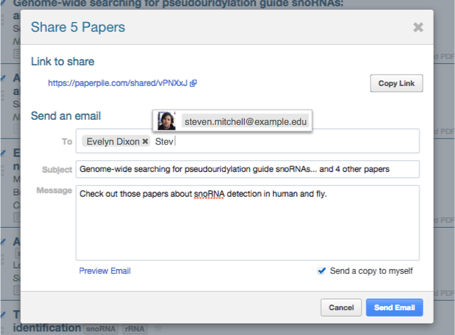 Share papers by email