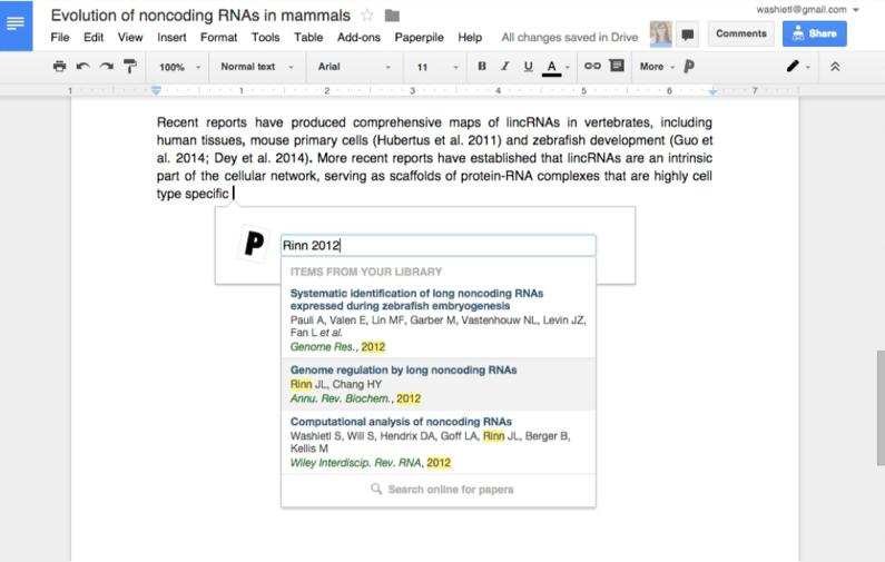 Citations plug-in for Google Docs