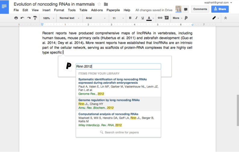 Citations plug-in for Google Docs